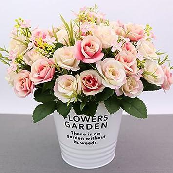 Xueliee cabezales de 10 de seda Artificial flores, rosas ramilletes Regalos boda fiesta cocina decoración del hogar, seda sintética, rosa claro, ...