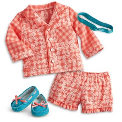 American Girl - Tenney Grant - Tenney's Gingham Pajamas for 18-inch Dolls - American Girl Tenney and Logan