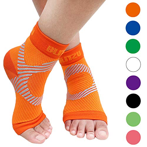 BLITZU Plantar Fasciitis Socks with Arch Support, Foot Care Compression Sleeve, Eases Swelling & Heel Spurs, Ankle Brace Support, Relieve Pain Fast Orange S-M