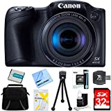 Canon Powershot SX410 IS Black Digital Camera and 32GB Card Bundle - Includes 32GB Memory Card, Carrying Case, NB-11L Battery, Memory Card Wallet, SD Card Reader, 5 Flexible Min