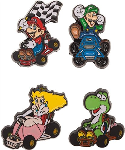 Bioworld Super Nintendo NES Classic Mario Kart Lapel Pin Set | Luigi, Princess, Mario, (Mario And Luigi Hats For Sale)