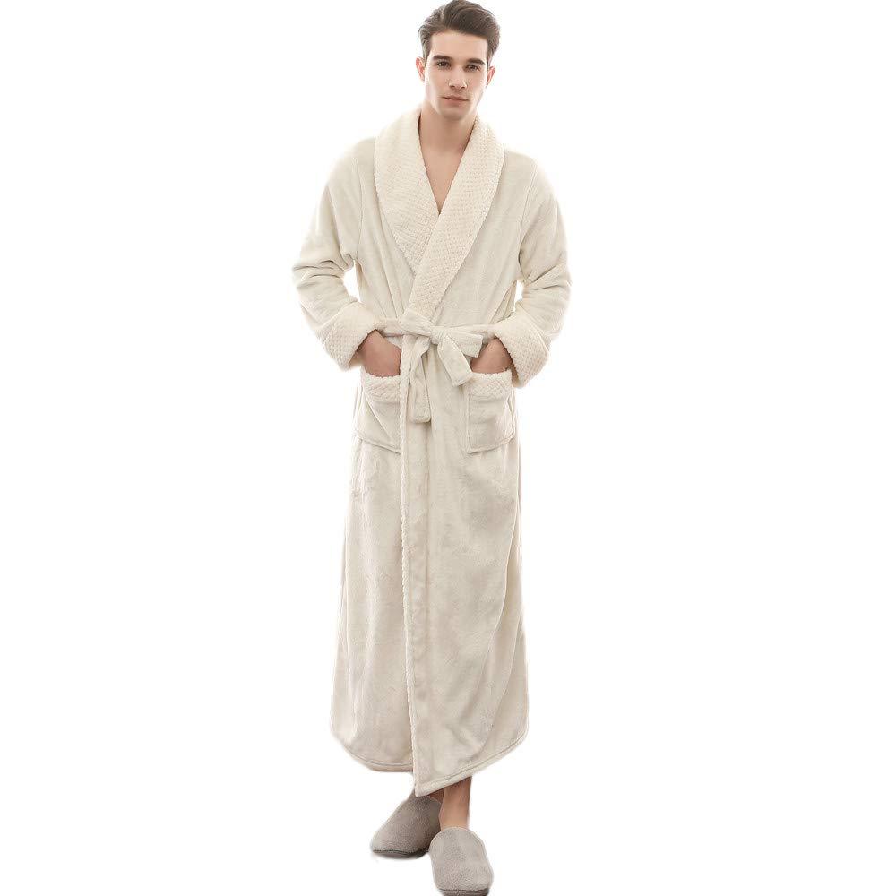 Bathrobe for Women or Men, QHJ Winter Lengthened Coralline Plush Shawl Bathrobe Long Sleeved Robe