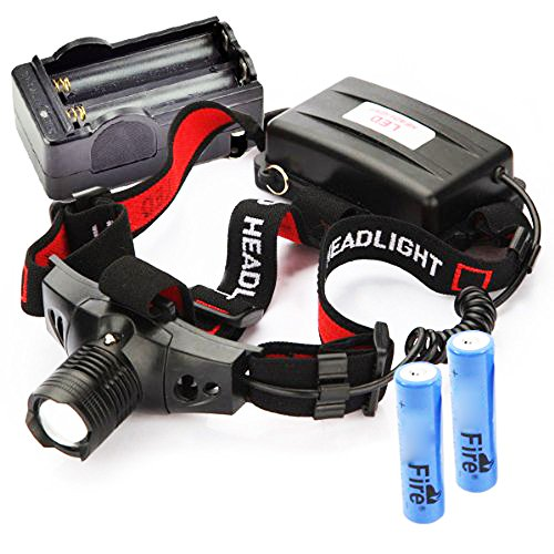CREE Q5 LED Zoomable 300Lm Headlamp Headlight (with two batteries one charger)