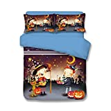 Holloween Bedding Sets Pumpkin Lanterns - MeMoreCool 100% Polyester Festival Decorations 3D Designs Family Gifts Duvet Cover and Fitted Sheet Queen