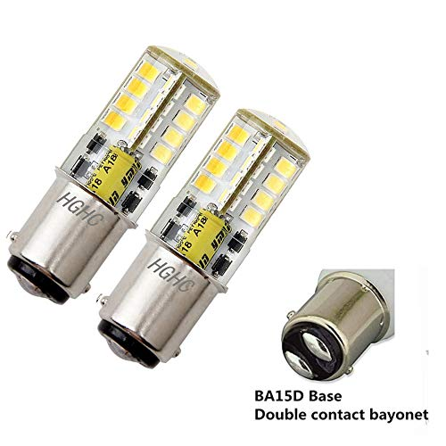 BA15D LED Bulb AC/DC 12V, Double Bayonet Base 5W Daylight White 6000K, 35W Halogen Equivalent, 1076 1130 1176 1142 LED Replacement for Interior RV, Camper (pack of 2)