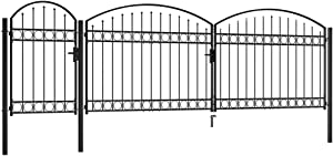 YVX Driveway Gates Outdoor Entrance Swing Gate Garden Fence Gate with Arched Top Steel 1.75x5 m Black