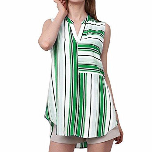 Mousseline Green Irrgulires sans Rayures D't Manches Blouse Mode V Femmes Top Col Casual 7waXqx7d
