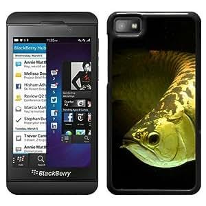 Fashionable Custom Designed Skin Case For Blackberry Z10 With Gold Arowana Fish Black Phone Case