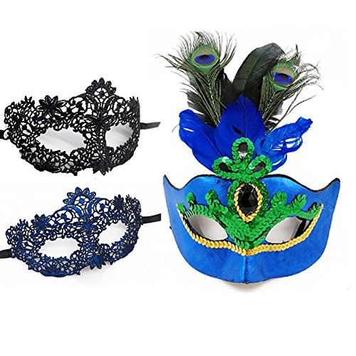 Peacock Feather Half Face Cosplay Mask with 2 PCS Masquerade Lace Mask for Party