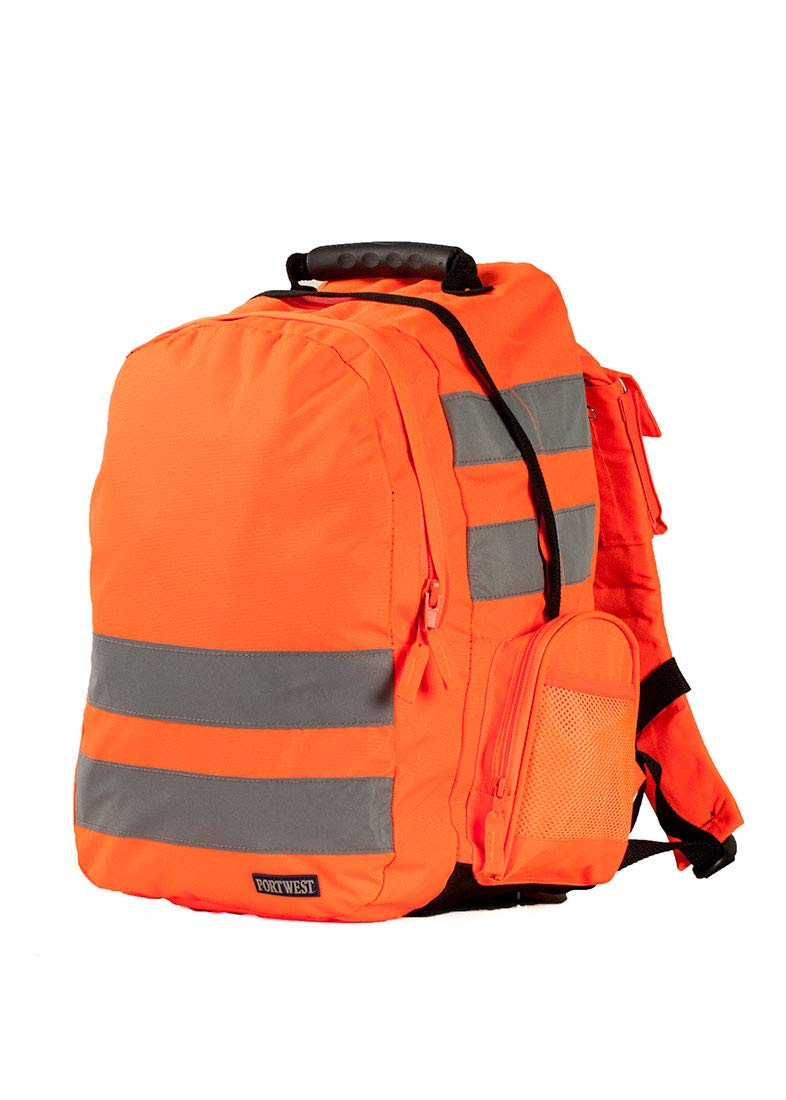 Portwest B905 Hi Vis Work Rucksack (25L) with High Visibility Reflective Tape, Orange