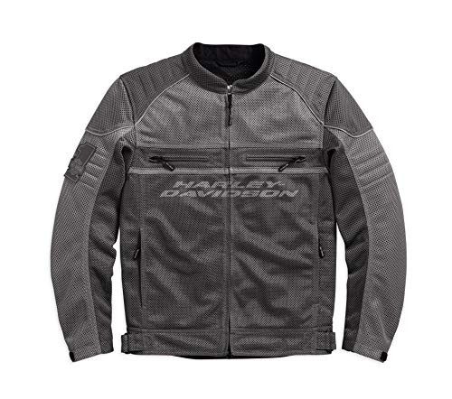 (Harley-Davidson Official Men's Affinity Mesh Riding Jacket, Grey (Large))