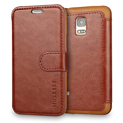 Galaxy S5 mini Case Wallet,Mulbess [Layered Dandy][Vintage Series][Coffee Brown] - [Ultra Slim] [Wallet Case] - Leather Flip Cover With Credit Card Slot for Samsung Galaxy S5 mini SM-G800