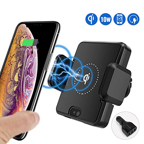 MIDODOR Wireless Car Charger Mount Air Vent Auto Clamp 10W/7.5W Fast QI Charger Holder+Magnetic Charging Cable for iPhone Xs Max/XR/XS/X/8/8Plus, Galaxy S10/S9/S9+/S8/Note 9