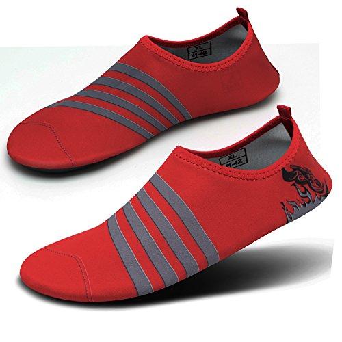 CASMAG Männer Frauen Quick-Dry Wasser Schuhe Barfüßig Aqua Socken Für Yoga Strand Schwimmen Pool Übung Surf Rote Linie