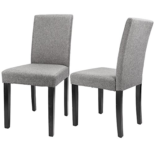 Furmax Dining Chairs Urban Style Fabric Parson Chair Side Chair With Solid Wood Legs Set of 2 (Grey)