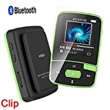 DeeFec Mini Sport Clip Bluetooth MP3 Player 8GB for Running with Clip FM Radio Voice Recorder Lossless Sound Portable Music Player-Expandable Micro SD Card to 64GB + Free Sport Armband (Green)