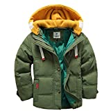 Girls Clothing Best Deals - Generic Children Boys and Girls Duck Down Coat Winter Thick Hooded Snowsuit (6T, Army Green)