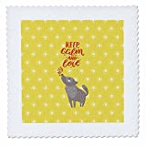 3dRose Uta Naumann Sayings and Typography - Keep Calm and Love - Typography and Wolf Animal Illustration - 25x25 inch quilt square (qs_267086_10)