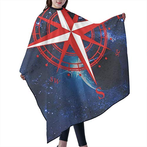 STWINW Professional Barber Supplies Tool Galaxy Red Compass Cape Cover Cloak Hair Dyed Hair Waterproof Cloth Anti-Static Hairdressing Haircut Apron Hair Dressing Gown Cape