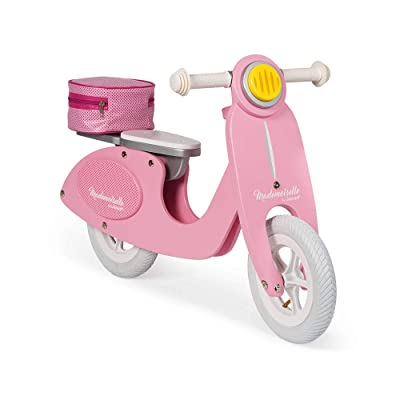 Janod Mademoiselle Pink Scooter Balance Bike – Retro-Style Adjustable Wooden Beginner Bike with Ergonomic Handles - Encourages Kids Balance and Coordination - Ages 3+: Toys & Games [5Bkhe1802492]