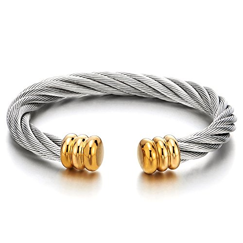 COOLSTEELANDBEYOND Mens Womens Large Elastic Adjustable Steel Twisted Cable Cuff Bangle Bracelet Silver Gold Two-Tone (Two Tone Steel Bracelet)