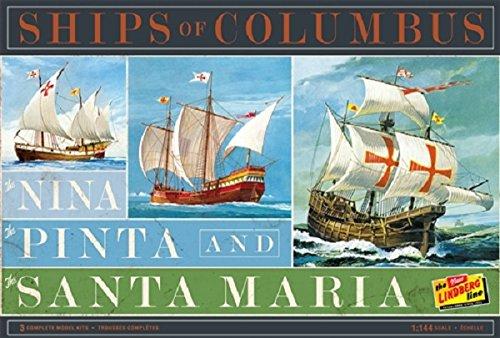 Lindberg HL223 Ships of Columbus The Nina, The Pinta, and The Santa Maria 1:144 Scale Plastic Model Kits - Requires Assembly Santa Maria Ship