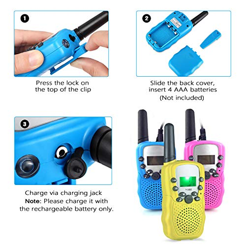 HOCOMO Walkie Talkies for Kids 3 Pack Gift for Girls Boys 22 Channels Two Way Radio 3 Miles Range Flashlight LCD Walkie Talkies for Outdoor Adventures, Camping, Hiking Blue/Pink/Yellow by HOCOMO (Image #6)