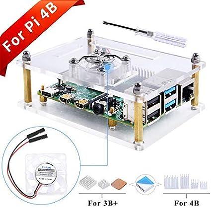 GeeekPi Caja Acrylic para Raspberry Pi 4B & Raspberry Pi 3 b+,Raspberry Pi Estuche con Ventilador & Disipadores de calorpara Raspberry Pi 3/2 Modelo B/B + (Claro): Amazon.es: Electrónica