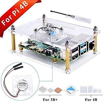 GeeekPi Caja Acrylic para Raspberry Pi 4B & Raspberry Pi 3 b+,Raspberry Pi Estuche con Ventilador & Disipadores de ...