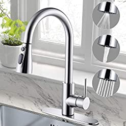 Farmhouse Kitchen Cobbe Kitchen Sink Faucet with Pull Down Sprayer, Chrome Kitchen Faucet, Stainless Steel Single Handle High Arc Pull Out… farmhouse sink faucets