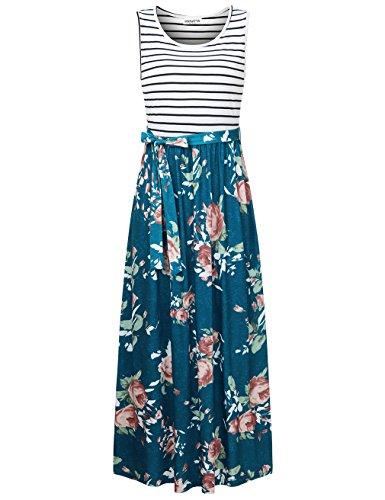 Bodice Tank Striped (HNNATTA Women Floral Tank Maxi Dress Pocket Sleeveless Casual Summer Long Dress)