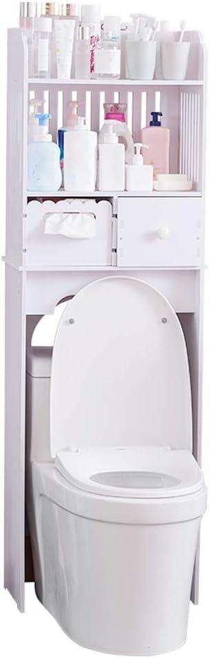 18,9 x 11 x 58,3 Pouces Meuble de Rangement Au-Dessus de Toilettes avec Porte pour WC Salle de Bain