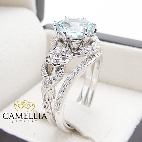 7485064afb15a Amazon.com: Unique Aquamarine Engagement Ring Set 14K White Gold Art ...