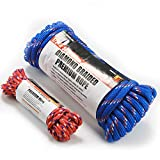 Wellmax Diamond Braid Nylon Rope - Extra Thick All Purpose Braided Utility Flag Line with Shock Absorption - UV Resistant, High Strength & Weather Resistant - 1/2'' X 50FT with Bonus 1/4'' x25FT Cord