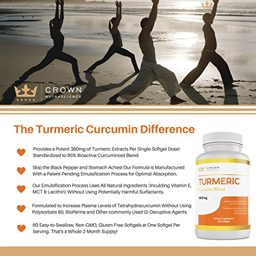 Turmeric Curcumin 1000mg, 60 Softgels, Crown NutraScience - 380mg Turmeric Extracts (Curcuminoid Powder) per Single Softgel, Emulsified for Maximum Absorption, Premium Joint Support & Pain Relief by Crown NutraScience (Image #4)