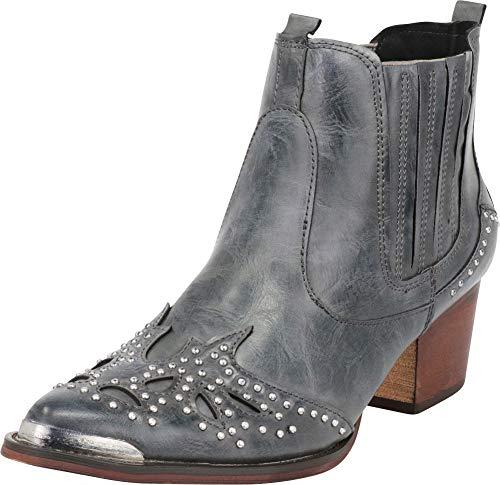 Cambridge Select Women's Western Cowboy Pointed Toe Crystal Rhinestone Block Heel Ankle Boot (10 B(M) US, Navy PU)