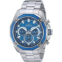 Invicta Men's 'Aviator' Quartz Stainless Steel Casual Watch, Color:Silver-Toned (Model: 22804)