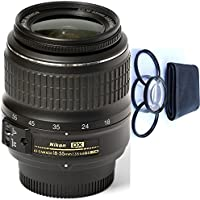 Nikon 18-55mm f/3.5-5.6G ED II Auto Focus-S DX (White Box) + 4pc Macro Lenses Set (+1 +2 +4 +10)