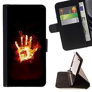 For Apple iPhone SE / iPhone 5 / iPhone 5S Case , Flaming Mano Desde el infierno- la tarjeta de Crédito Slots PU Funda de cuero Monedero caso cubierta de piel