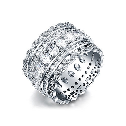 Serend Vintage Style Cubic Zirconia Wide Band Statement Cocktail Ring 18k White Gold Plated Jewelry, Size 5.5 - Ladies Cocktail Ring Gold Plated