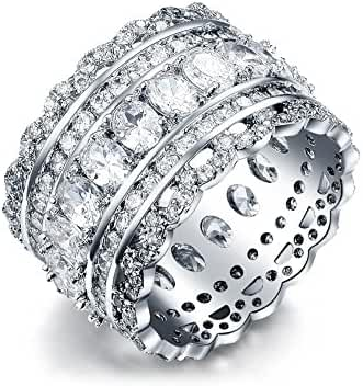 Serend Vintage Style Cubic Zirconia Wide Band Statement Cocktail Ring 18k White Gold Plated