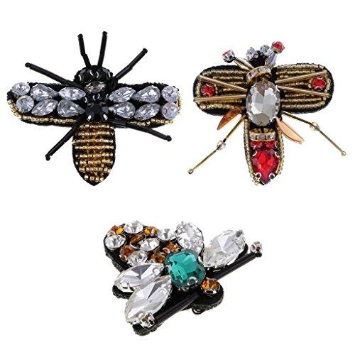 Fityle 3 Piezas Abeja Rhinestone Con Cuentas Parche Bordado Accesorios de Coser Apliques Decoración Forma Insectos