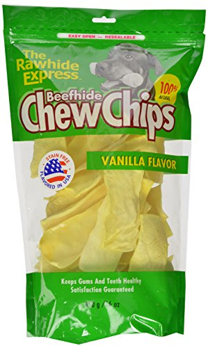 - The Rawhide Express Beefhide Chew Chips Vanilla Flavored 1 Pound Bag (Great Reward or Treat)