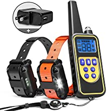 iSPECLE Dog Training Collar, 2019 Upgraded Waterproof Rechargeable 2600ft Remote Dog Shock Collar with LED Light, Beep, Vibration, Shock for Medium/Large Breed 2 Electronic Collars, Neck Lanyard