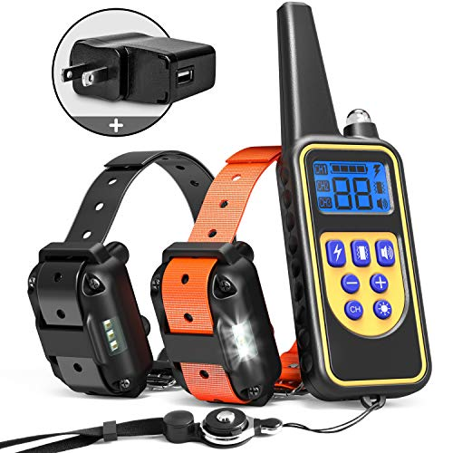 iSPECLE Dog Training Collar, 2019 Upgraded Waterproof Rechargeable 2600ft Remote Dog Shock Collar with LED Light, Beep, Vibration, Shock for Medium/Large Breed 2 Electronic Collars, Neck Lanyard ()