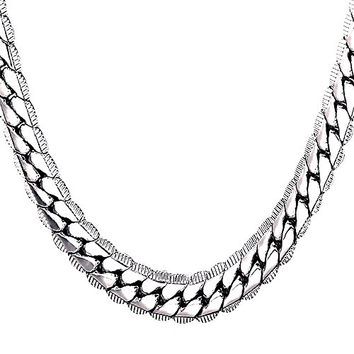 U7 Men Heavy Chunky Necklace Fashion Jewelry Platinum Plated Thick Hip Hop Punk 9MM Wide Snake Chain Necklace (32 Inches) by U7