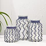 Two's Company Roped in Set of 3 Blue and White Hand-Woven Hurricane Candleholders