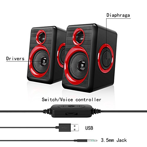 Computer Speakers With Heavy Bass,Subwoofer, Volume Control, 3.5mm Audio, USB Wired Powered Built-in Four Loudspeaker Diaphragm Multimedia Speaker for PC/Laptops/desktop/ASUS/ACER Computer (RED) by TOMOT (Image #1)