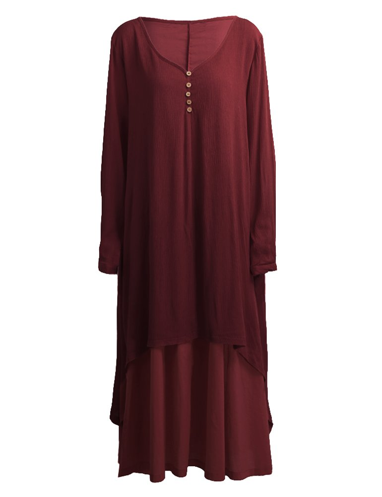 Romacci Women Boho Dress Casual Irregular Maxi Dresses Layered Vintage Loose Long Sleeve Linen Dress,S-5XL by Romacci (Image #2)