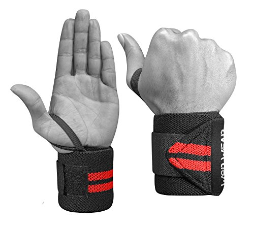 Elastic Wrist Wraps - 18 Inch Pair for Fitness, Powerlifting, Bodybuilding, Weight Lifting, Cross-Training Wrist Supports for Weight Training - with Hook and Loop Grip